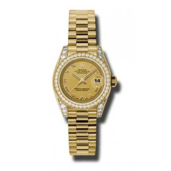 Rolex Lady Datejust Yellow Gold Champagne Roman President 179158