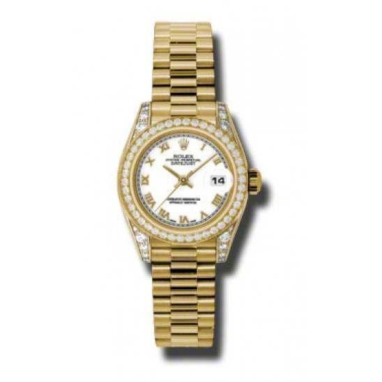 Rolex Lady Datejust Yellow Gold White Roman President 179158