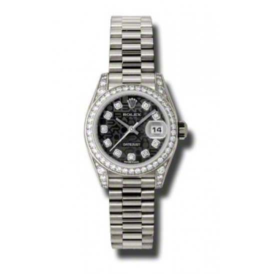 Rolex Lady Datejust White Gold Black Jub/diamond President 179159