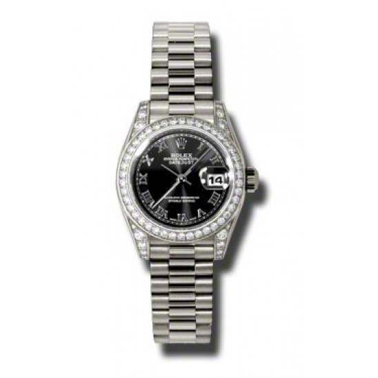 Rolex Lady Datejust White Gold Black Roman President 179159