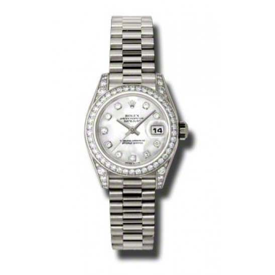 Rolex Lady Datejust White Gold White mop/diamond President 179159