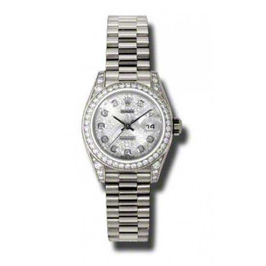 Rolex Lady Datejust White Gold Silver Jub/diamond President 179159