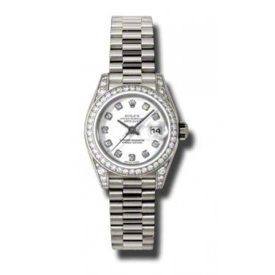 Rolex Lady Datejust White Gold White/diamond President 179159