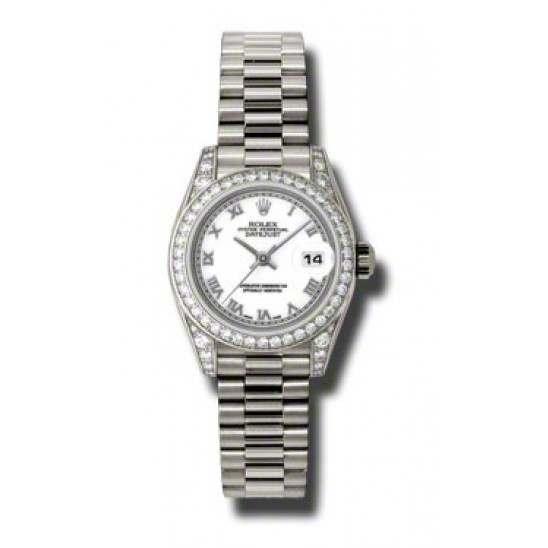 Rolex Lady Datejust White Gold White Roman President 179159