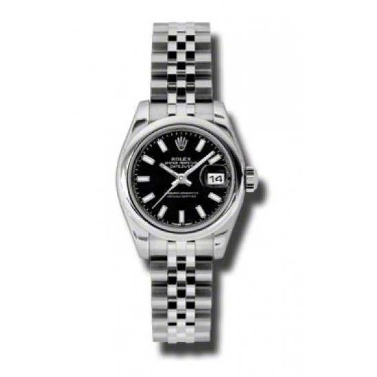 Rolex Lady-Datejust Black/index Jubilee 179160