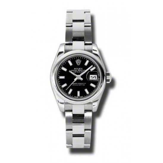 Rolex Lady-Datejust Black/index Oyster 179160