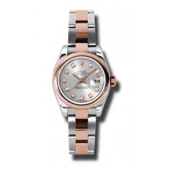 Rolex Lady-Datejust Silver/Diamond Oyster 179161