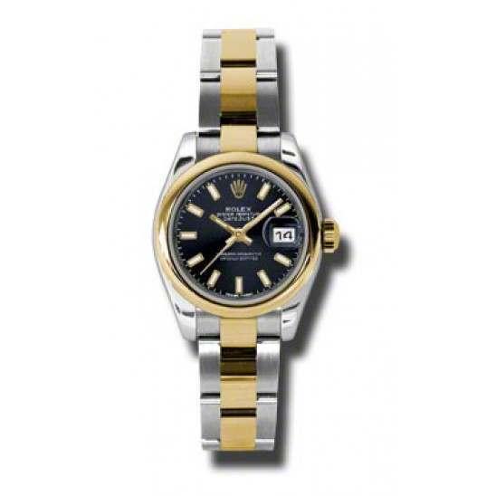 Rolex Lady-Datejust Black/index Oyster 179163