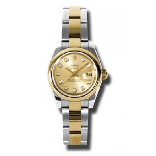 Rolex Lady-Datejust Champagne/Diamond Oyster 179163