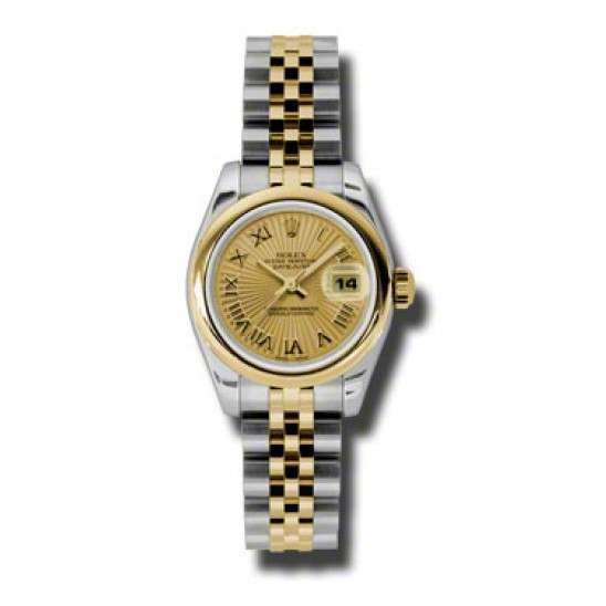 Rolex Lady-Datejust Champagne/index Jubilee 179163