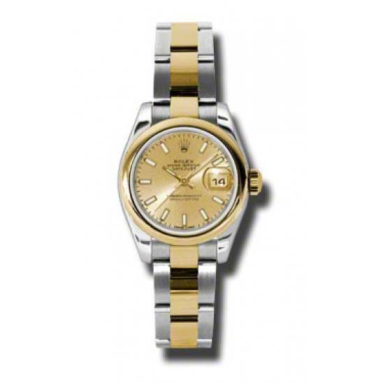 Rolex Lady-Datejust Champagne/index Oyster 179163