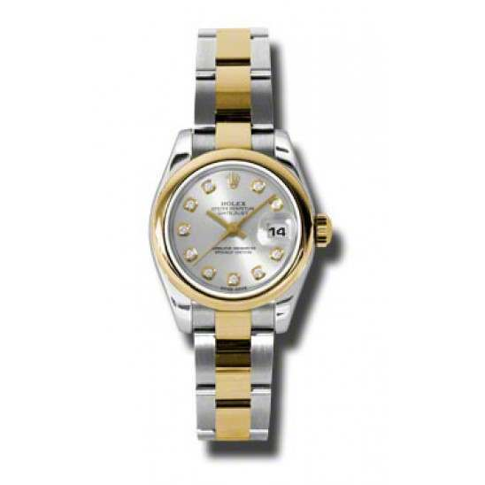 Rolex Lady-Datejust Silver/Diamond Oyster 179163