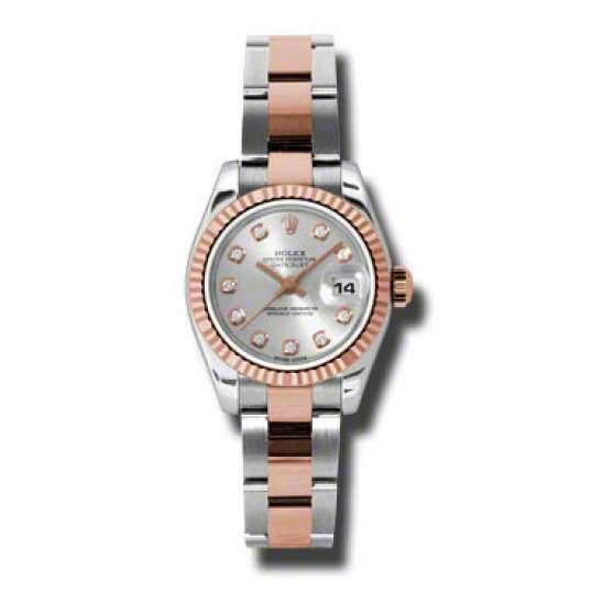 Rolex Lady-Datejust Silver/Diamond Oyster 179171
