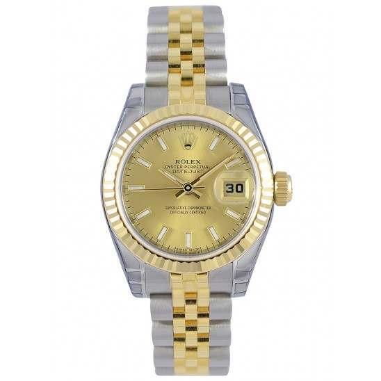 Rolex Lady-Datejust Champagne/index Jubilee 179173