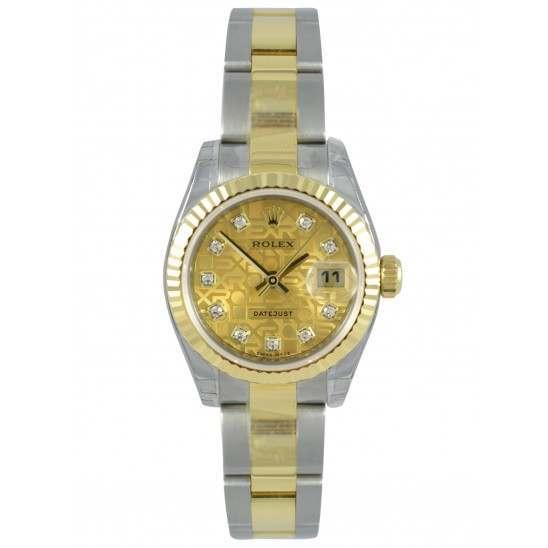 Rolex Lady-Datejust Gold Crystals Jub/Diamond Oyster 179173