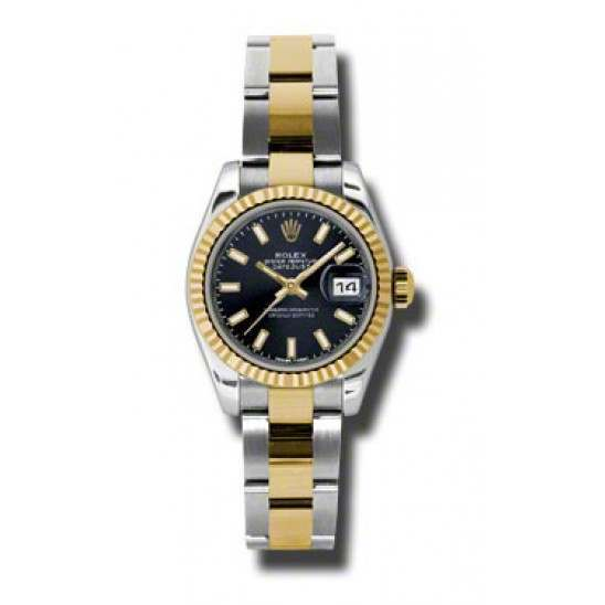 Rolex Lady-Datejust Black/index Oyster 179173