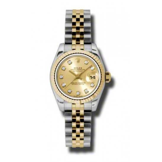 Rolex Lady-Datejust Champagne/Diamond Jubilee 179173