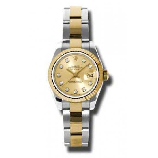 Rolex Lady-Datejust Champagne/Diamond Oyster 179173