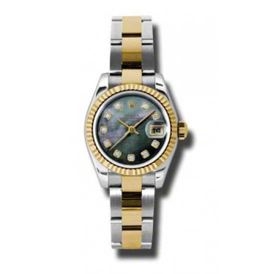 Rolex Lady-Datejust Black mop/Diamond Oyster 179173