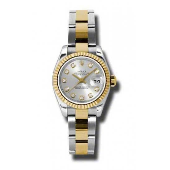 Rolex Lady-Datejust Silver/Diamond Oyster 179173