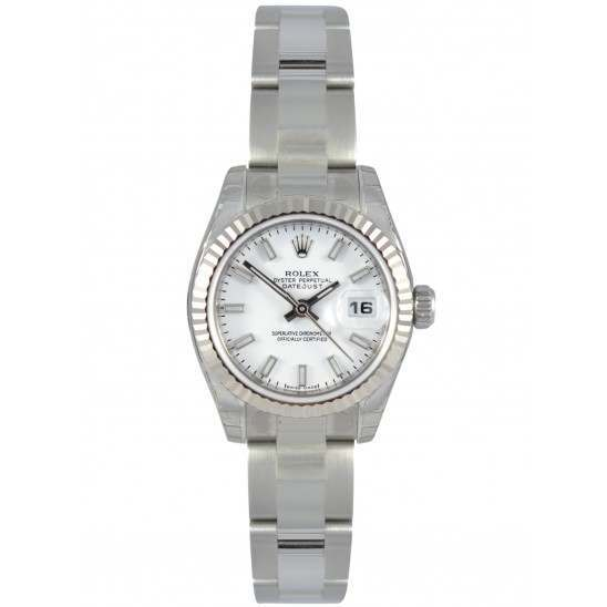 Rolex Lady-Datejust white/index Oyster 179174