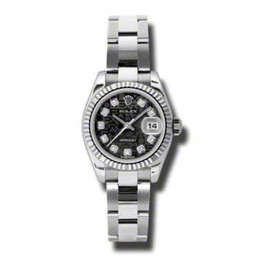 Rolex Lady-Datejust Black Jub/Diamond Oyster 179174