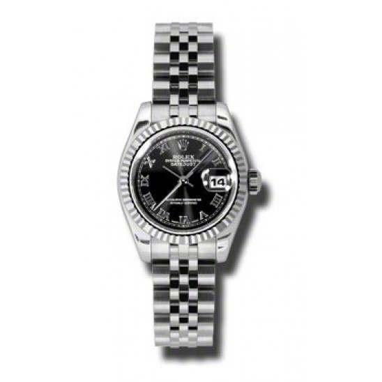 Rolex Lady-Datejust Black Roman Jubilee 179174