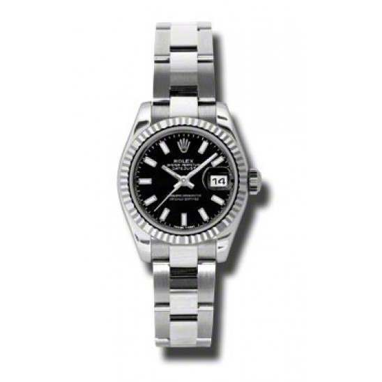 Rolex Lady-Datejust Black/index Oyster 179174