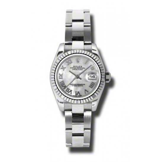Rolex Lady-Datejust White mop Roman Oyster 179174