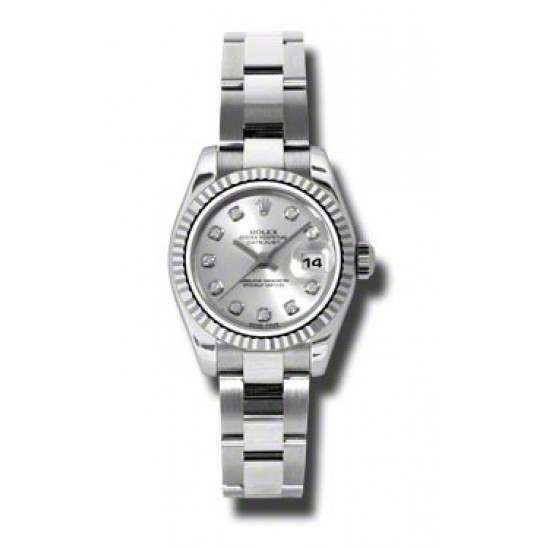 Rolex Lady-Datejust Silver/Diamond Oyster 179174