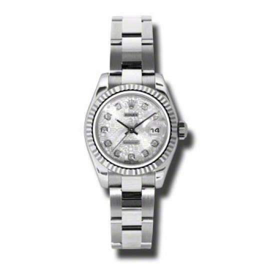 Rolex Lady-Datejust Silver Jub/Diamond Oyster 179174