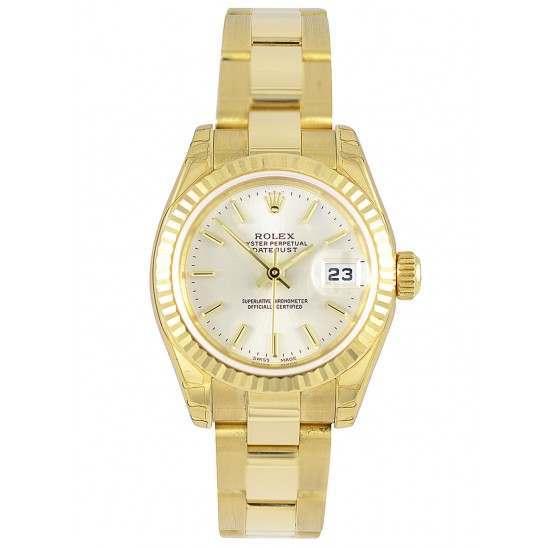 Rolex Lady-Datejust Silver/index President 179178