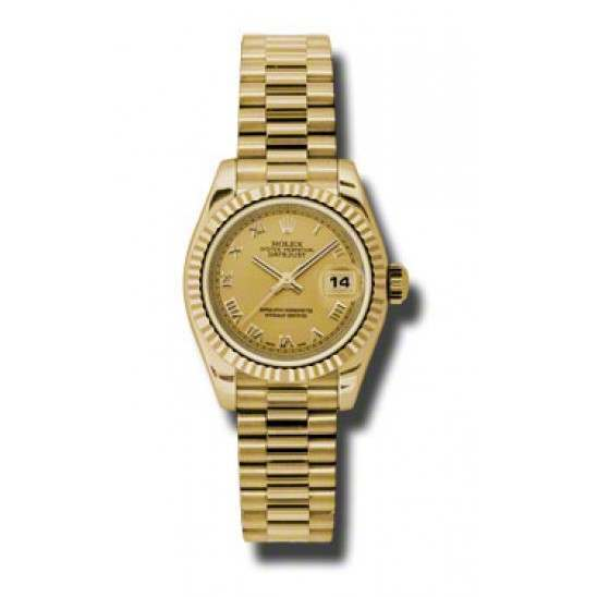Rolex Lady-Datejust Champagne Roman President 179178