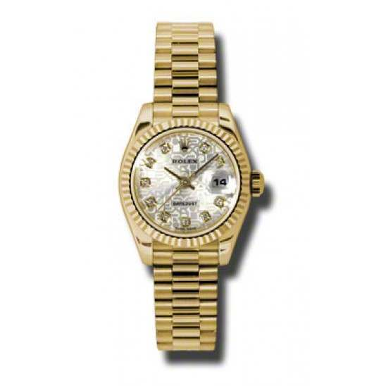 Rolex Lady-Datejust Silver Jub/Diamond President 179178