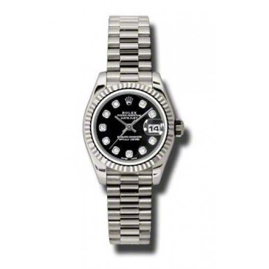 Rolex Lady-Datejust Black/Diamond President 179179