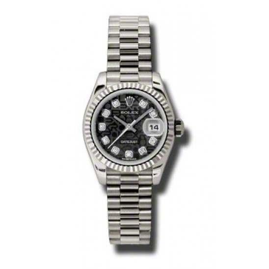 Rolex Lady-Datejust Black Jub/Diamond President 179179