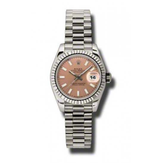Rolex Lady-Datejust Pink/index President 179179