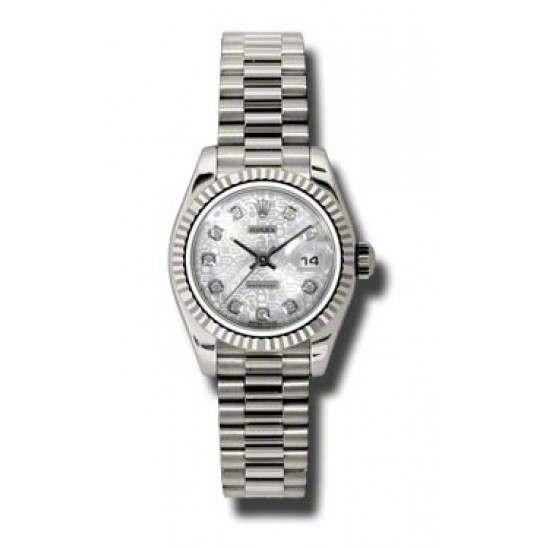 Rolex Lady-Datejust Silver Jub/Diamond President 179179