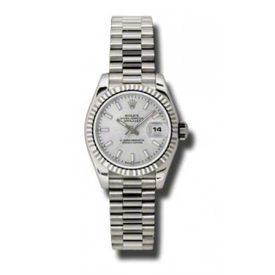 Rolex Lady-Datejust Silver/index President 179179