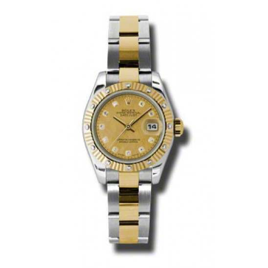 Rolex Lady Datejust Steel&Yellow Gold Champagne/diamond Oyster 179313