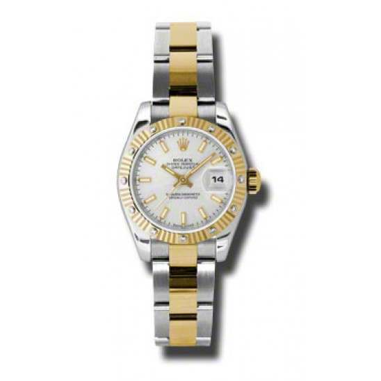 Rolex Lady Datejust Steel & Yellow Gold Silver/index Oyster 179313