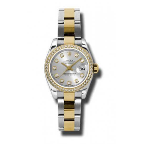 Rolex Lady-Datejust Silver/Diamond Oyster 179383