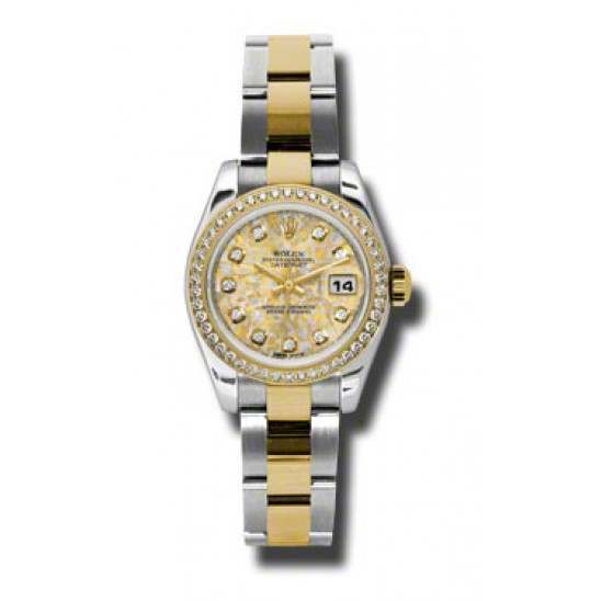 Rolex Lady-Datejust Gold Crystals Jub/Diamond Oyster 179383