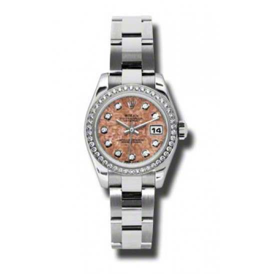 Rolex Lady-Datejust Pink Gold Crystals/Diamond Oyster 179384
