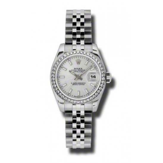 Rolex Lady-Datejust Silver/index Jubilee 179384