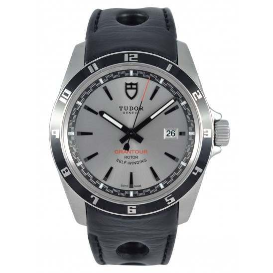 Tudor Grantour Date 20500N Silver Dial/ Leather Strap