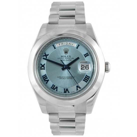 Rolex Day-Date II Ice Blue Roman Concentric Dial President 218206
