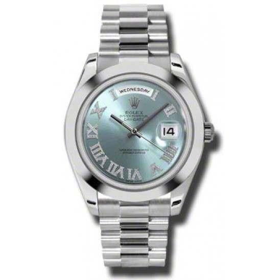 Rolex Day-Date II Ice Blue Gem-Set Roman President 218206