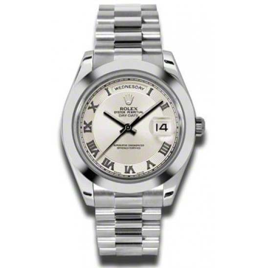 Rolex Day-Date II Ivory Roman Concentric President 218206
