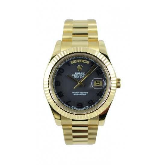 Rolex Day-Date II Black Arab Concentric President 218238